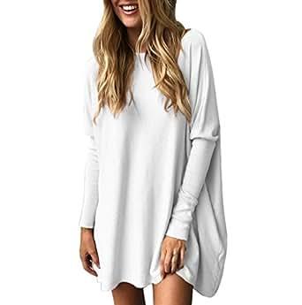 TUDUZ Blouse Women's Blouse Casual Round Neck Loose Long Sleeve Pullover Tops Blouse Medium White