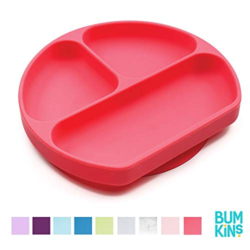 Bumkins Silicone Grip Dish, Suction Plate, Divided Plate, Baby Toddler Plate, BPA Free, Microwave Dishwasher Safe - Red