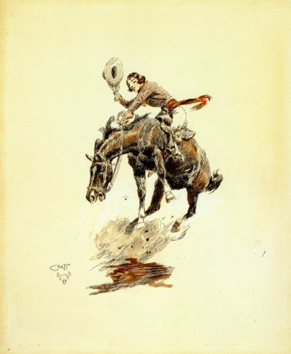 Bucking Horse (Bucking Horse and Cowgirl by Charles Marion Russell - 20