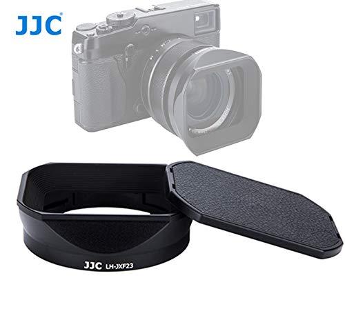JJC LH-JXF23 Black Bayonet Metal Square Lens Hood for FUJINON XF 23mm F1.4 R XF 56mm F1.2 R XF 56mm F1.2 R APD, with Front Cap, Fuji 23mm F1.4 XF 56mm F1.2 Lens Hood, Replaces Fujifilm LH-XF23