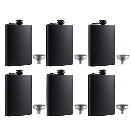 YWQ 6 Pcs Hip Flask for Liquor Matte Black 8 Oz Stainless Steel Leakproof with Funnel, Great Gift Idea Flask ()