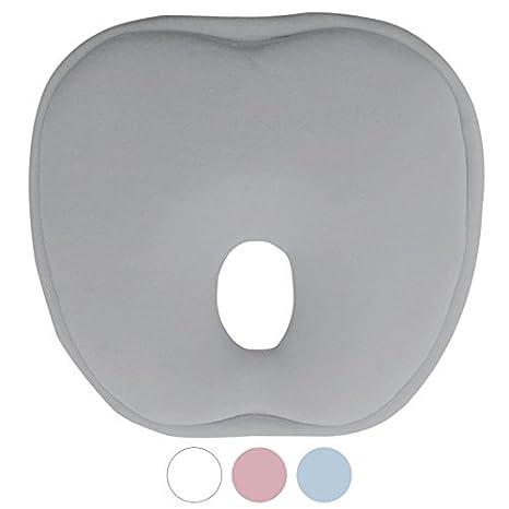 Monsieur Bébé ® Cojín de mantenimiento anti cabeza plate con memoria de forma hipoalergénico – cuatro colores – estándar CE gris gris