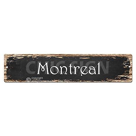 Amazon.com: Montreal Sign Vintage Rustic Street Sign Plate Beach Bar ...