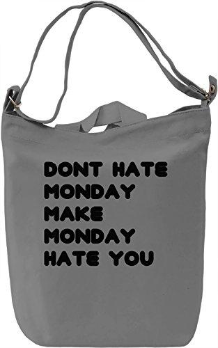 Monday Hate Borsa Giornaliera Canvas Canvas Day Bag| 100% Premium Cotton Canvas| DTG Printing|