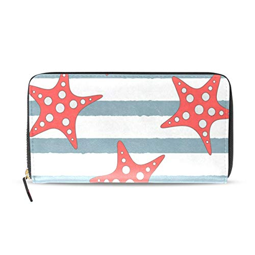 - Womens Wallets Starfishes On Stripes Leather Passport Wallet Coin Purse Girls Handbags
