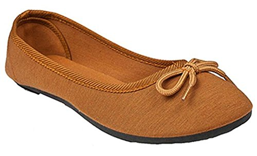 Epic Step Gloria Ballerina Flats Womens Shoes Ballet Shoes Round Toe Ballet Flats Shoes For Women (8 (Runs Small, Buy One Size Up), Cognac)