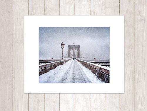 Amazon.com: New York City Wall Art, Brooklyn Bridge Winter Walkway ...