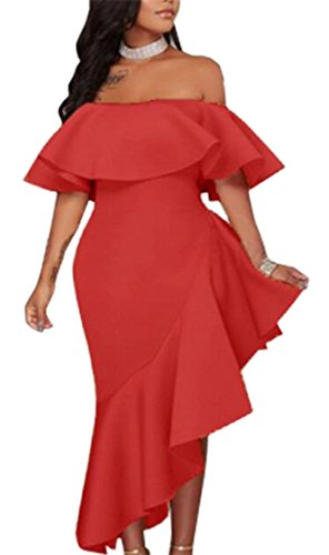 Bodycon Ruffled Mermaid Red Shoulder Off Jaycargogo Womens Dresses Sexy WBwqHwaxC