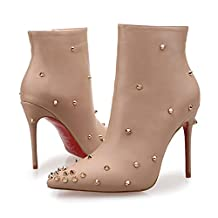 San Hojas Wedding Boot Martin Boots Leather Thin Heel Shoes With Rivet