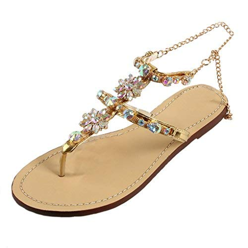 66212a32a6cb2 MayBest Women's Summer Rhinestone Bead Bohemia Round Clip Toe Casual Beach  Flip Flops Flat T-Strap Thong Sandals Shoes