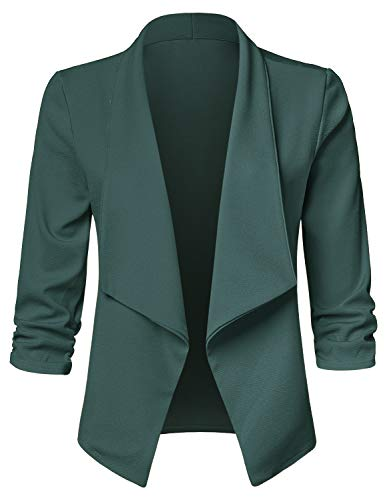 JSCEND Women's Casual Stretch 3/4 Sleeve Open Front Blazer Cardigan Jacket, Jjc001_a_huntergreen, XX-Large