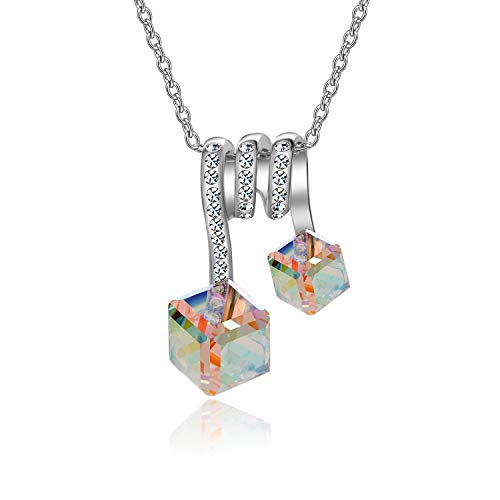 EVEVIC Color Changing Swarovski Crystal Cubes Pendant Necklaces for Women Girls 14K Gold Plated Jewelry (Aurora Borealis Crystals/Silver-Tone)