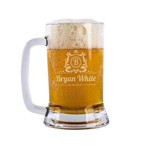 Beer Gifts Personal Beer Mug Glass Engraved Custom Beer Glass Customizable With Names And Date | Personalized Gifts For Men Personalized Dad Beer Glass 16 oz Beer Mug