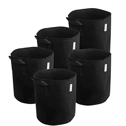 MELONFARM 5-Pack 3 Gallon Grow Plant Bags Thick...