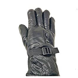 Titox Unisex Sports Leather Snow Proof Soft Warm Winter Protective Riding Gloves with Fur for Riding Bikes, Cycles…