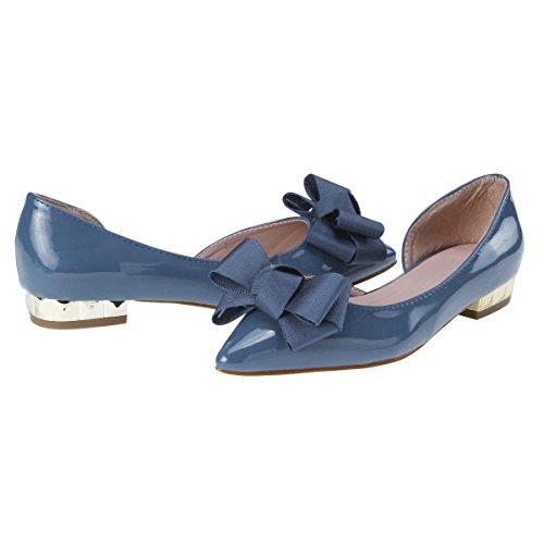 Damara Elegante Zapatos Planos De Goma Zapatillas Con Lazo Para Mujer Azul