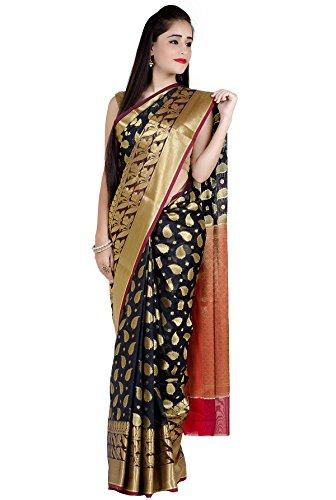Chandrakala Women's Black Cotton Silk Banarasi Saree by Chandrakala (Image #3)