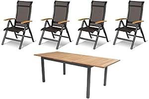 Hartman esstischgruppe Alice, Grupo de Mesa con 4sillas en xerix/Natural, mobiliario de jardín de Aluminio, Asiento Grupo con Madera de Teca Elementos
