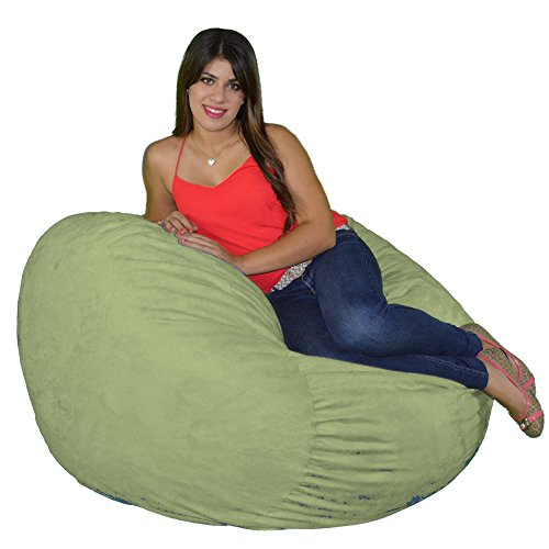 Cozy Sack Bean Bag Chair: Large 4 Foot Foam Filled Bean Bag - Large Bean Bag Chair, Protective Liner, Plush Micro Fiber Removable Cover - Lime