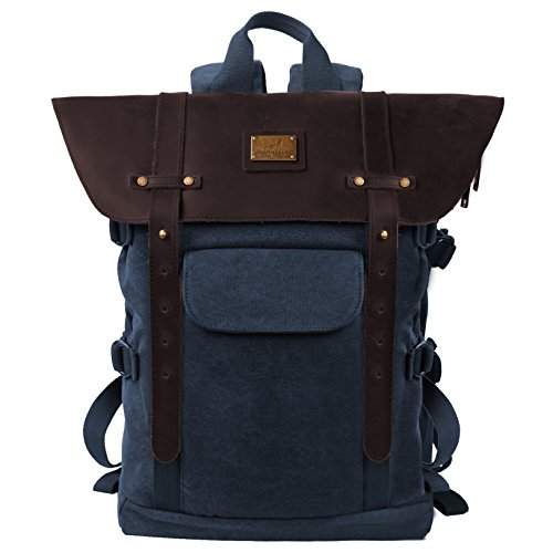 "Leather Backpack for Men TOPWOLFS Canvas Backpack Vintage Rucksack fit 15.6"" Laptop Anti-theft Pocket Multifunction Books School Travel Bag"