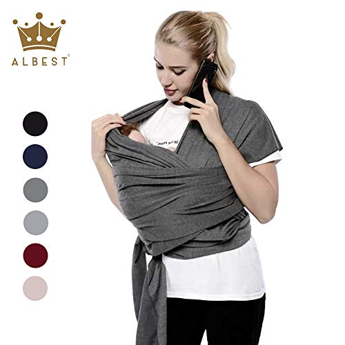Baby Wrap Ergo Carrier Sling for Newborns Toddlers, Extra Soft Lightweight Baby Wraps, Easy Wearing and Carrying of Babies, Best Baby Shower Gift Dark Grey