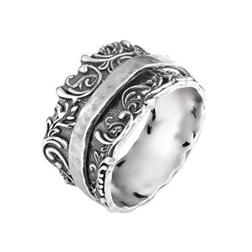 (PZ Paz Creations 925 Sterling Silver Filigree Spinner Ring (8))