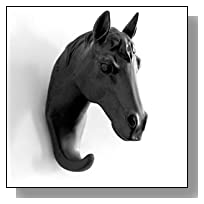 Herngee Horse Head Single Wall Hook / Hanger Animal shaped Coat Hat Hook Heavy Duty, Rustic,Recycled, Decorative Gift , Black