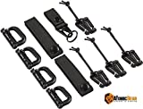 The Atomic Bear Kit of 11 Attachments for 1' Webbing Molle Bags, Tactical Backpack, Tactical Vest - 4 Grimlock Locking D-Ring Carabiner Clips - 4 Molle Elastic Strings - 2 Straps 4' MOD Tac Tie