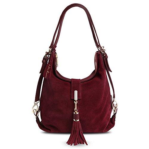 Nico Louise Women Genuine Suede Leather Tassel Handbag Backpack Shoulder Bag (Suede Leather Ladies Genuine)