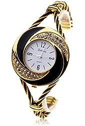 Soleasy New Fashion Women's Bangle Wrist Watch Quartz Gold-black Wth0204