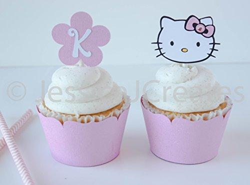 Cupcake Toppers - Hello Kitty Cupcake Toppers - Hello Kitty Party - Hello Kitty - Hello Kitty Party Decor - 12 ct]()