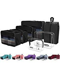 Packing Cubes 7-Pcs Travel Organizer Accessories with Shoe Bag & 2 Toiletry Bags(Black)