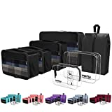 YAMIU Packing Cubes 7-Pcs Travel Organizer Accessories with Shoe Bag & 2 Toiletry Bags(Black): more info