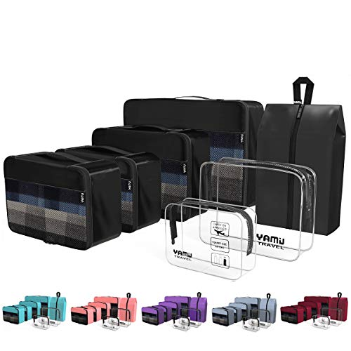 YAMIU Packing Cubes 7-Pcs Travel Organizer Accessories with Shoe Bag & 2 Toiletry Bags(Black) (Best Friend Couple Shirt Design)