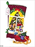 "Christmas Tree Window View W/Lights Stocking Felt Applique K 18"" Long"