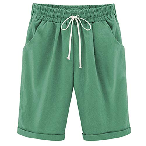 -  XinDao Women's Outdoor Petite Casual Shorts Knee Length Bermuda Shorts Elastic Waist and Drawstring Closure Grass Green US S/Asia 3XL