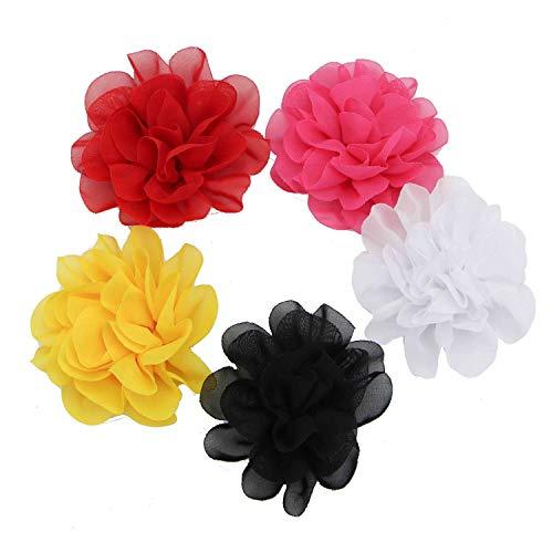 Monrocco 14 pcs Fabric Flowers Lace Chiffon Peony Fabric Flowers for DIY Headbands Girl Flower Accessories