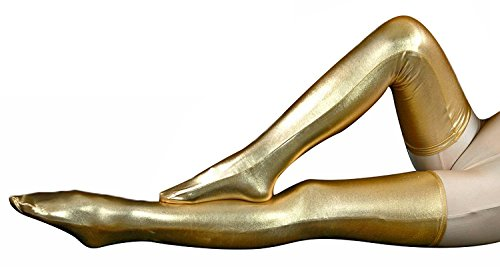 Leg Unitard - VSVO Women's Shiny Metallic Spandex Skintight Stocking (16in, Gold)