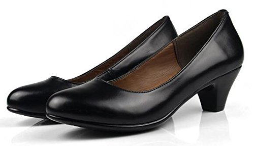 Chfso Mujeres Comfortable Solid Round Toe Low Top Slip En Mid Chunky Heel Oficina Bombas Negro