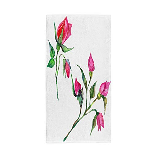 (Semtomn 30 x 60 Inches Bath Towel Wildflower Rosa Flower in Watercolor Full Name of The Soft Absorbent Travel Guest Decor Hand Towels Washcloth for Bathroom(One Side Printing))