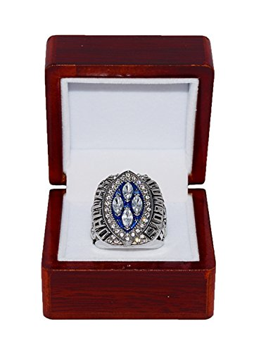 DALLAS COWBOYS (Michael Irvin) 1993 SUPER BOWL XXVIII WORLD CHAMPIONS Vs. Buffalo Bills (Back to Back Champs) Rare & Collectible Replica NFL Silver Championship Ring with Cherrywood Display ()
