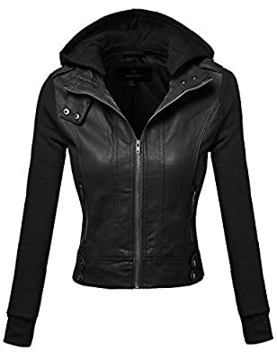 Awesome21 Women's Faux Leather Fleece contrast Detachable Hooded Jacket