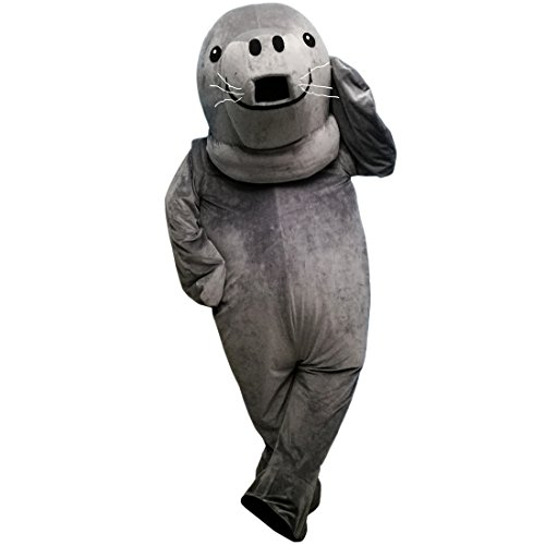 Gray Manatee Walrus Cartoon Mascot Costume Real Picture 15-20days delivery]()