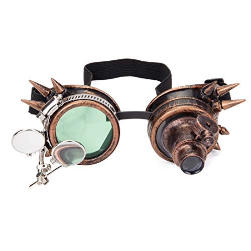 Sexy_Forever Spiked Steampunk Kaleidoscope Goggles with Double Color Lenses and Ocular Loupe Vintage Rave Rainbow Crystal Lenses (Sf Raves Halloween)