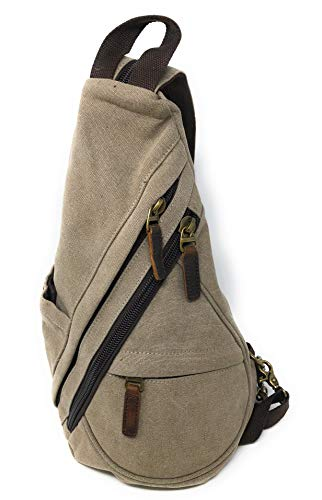 Nickanny's Conceal Carry Purse Multi Pocket Backpack Sling -Water Repellent Canvas for Women, Girls or Men-Unisex-Crossbody Convertible-Photography Rucksack Bag (Khaki Sling)