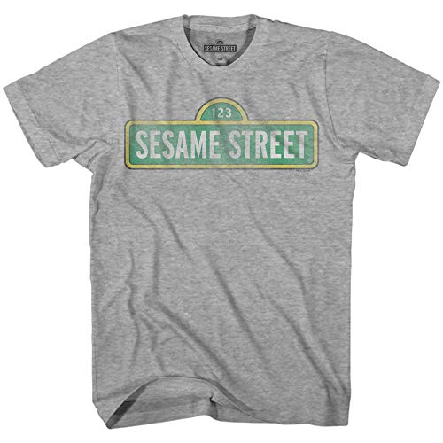Sesame Street Sign Tee Classic Vintage Retro Funny Humor Pun Adult Mens Graphic T-Shirt Apparel (Grey Heather, Small) -