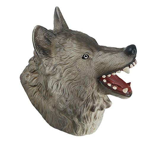 (Brightric Natural Rubber Realistic Wolf Head Hand Puppet Figure Toys Gloves Toy Model)