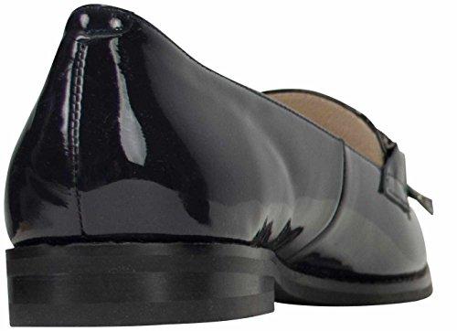 Dames Patent Lederen Loafer Harriet Donkerblauw, Marine De Hand Verwerkt Omzoomde