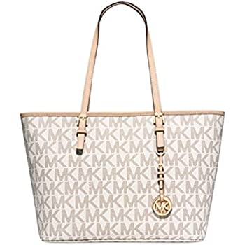 5b293a3a91c3 Amazon.com  MICHAEL Michael Kors Jet Set Travel Top Zip Tote-Vanilla ...