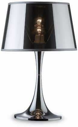 Ideal Lux LONDON TL1 BIG E27 Cromo lámpara de mesa - Lámparas de mesa (Cromo, Metal, PVC, Dormitorio, Habitación de los niños, Salón comedor, Salón, IP20, E27, 1 bombilla(s)): Amazon.es: Iluminación